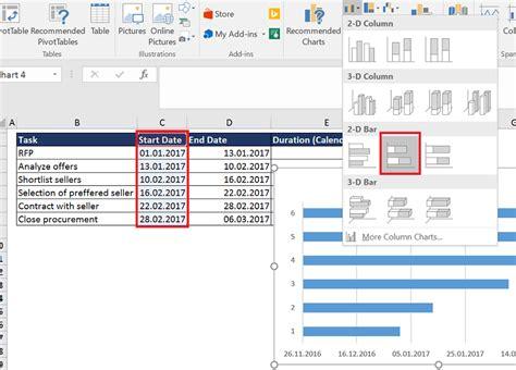 tutorial excel bar graph excel gantt chart tutorial the analyst cave excel vba