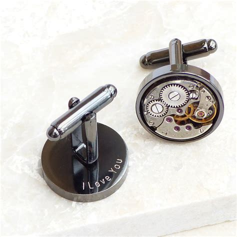 cuff links personalised vintage movement gunmetal cufflinks by