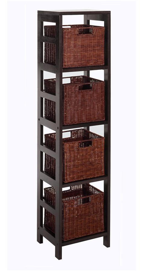 winsome leo 5pc storage shelf with basket set shelf with