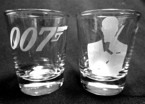 james bond glass set of two etched shot glasses with the james bond