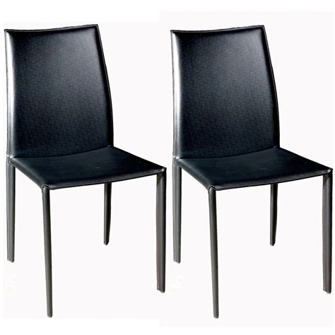 Cheap Leather Dining Chairs Wholesale Interiors Set Of Two Leather Dining Chairs Black Alc 1025 Black