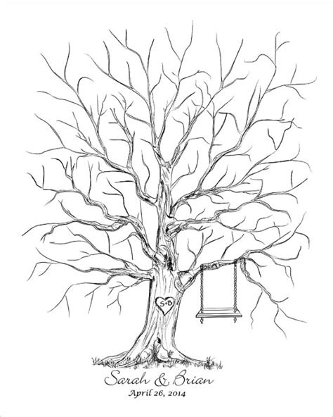 guestbook tree template fingerprint tree guest book template images