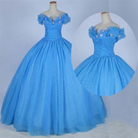 Longdress Cinderella Blue Butlerfly cinderella prom quinceanera dress blue gown the shoulder with butterfly dressywomen