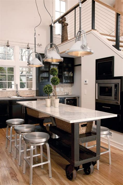 narrow kitchen island table love the industrial roller marble island a good narrow