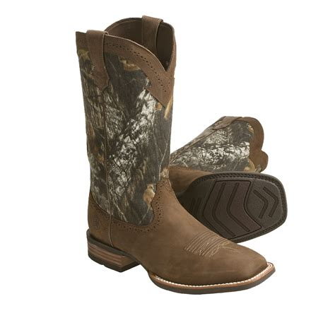 ariat camo boots ariat quickdraw leather cowboy boots mossy oak camo 9 5 10 11