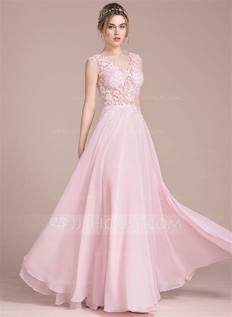 V Neck Chiffon Dress a line princess v neck floor length chiffon prom dress