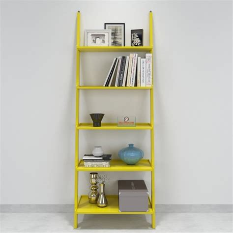 jasper leaning wall bookcase ladder shelf yellow