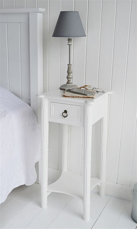 Narrow White Bedside Table A Narrow White Bedside Table With Drawer New