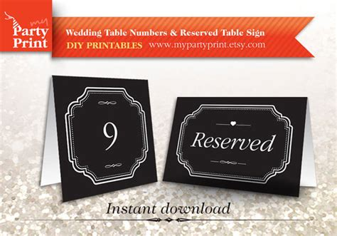 Table Tag Printable Table Number Wedding Table Card Table Number