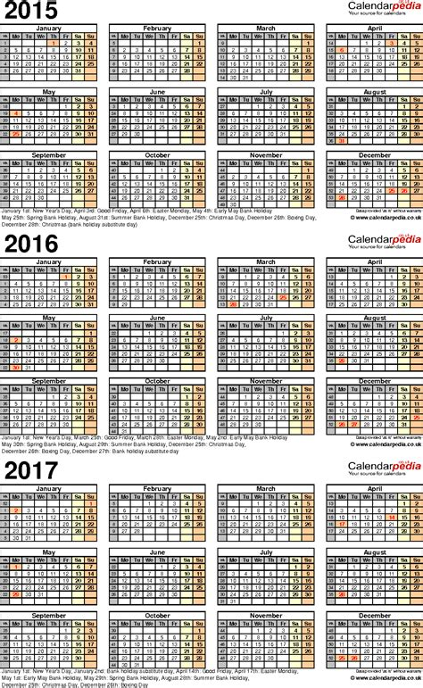 three year calendar template three year calendars for 2015 2016 2017 uk for word