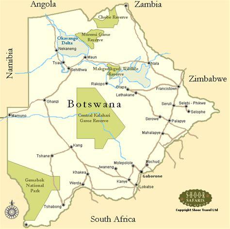 botswana map botswana touristische karte
