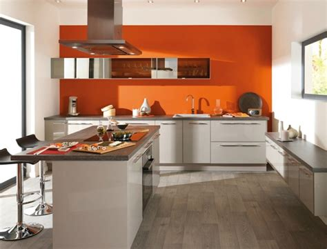 Hotte Cuisine Design #11: Cuisine-orange-blanche-pas-cher-design.jpg