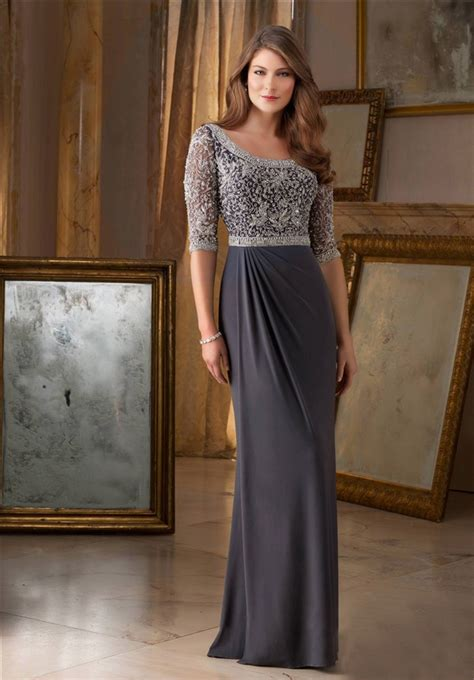 Sheath Bateau Neckline Long Grey Chiffon Beaded Occasion Evening Dress With Sleeves