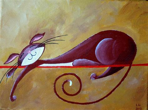 Cat Acrylic cat painting naturelands