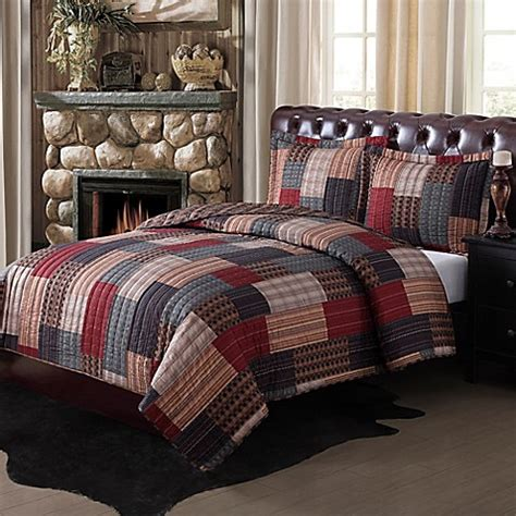 quilts at bed bath and beyond gunnison quilt set in brown red blue bed bath beyond