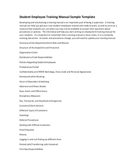 training manual template sle