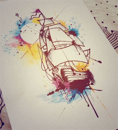 ship and sunset watercolor tattoo design designs of late