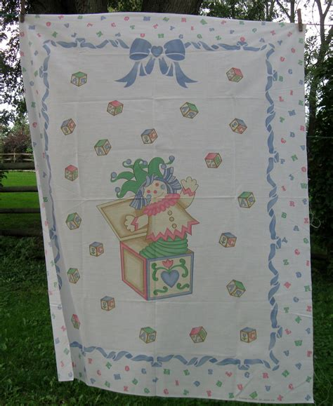 vintage baby quilt panel fabric panel crib in the box