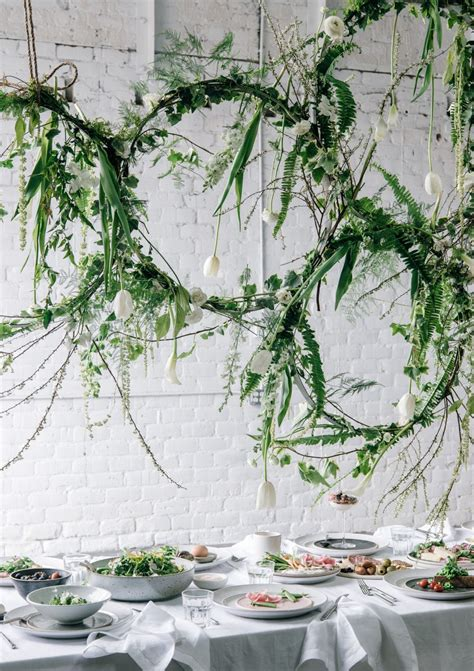 greenery floral installation for spring brunch via