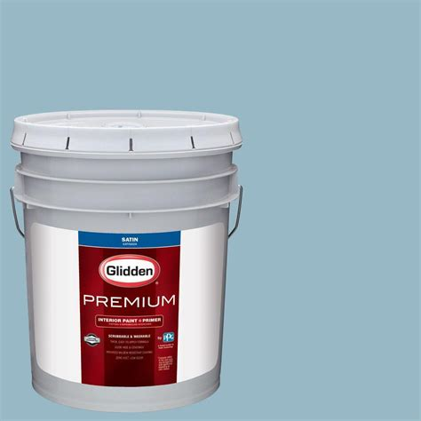 glidden premium 5 gal hdgb50 soft rococo blue satin interior paint with primer hdgb50p 05san