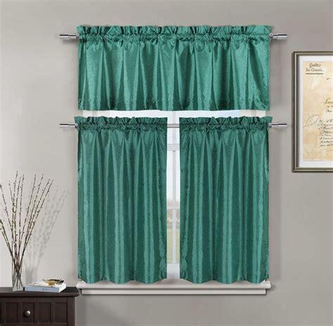 Minka Faux Silk Teal Kitchen Window Curtain 3 Piece Set Curtains Kitchen Window