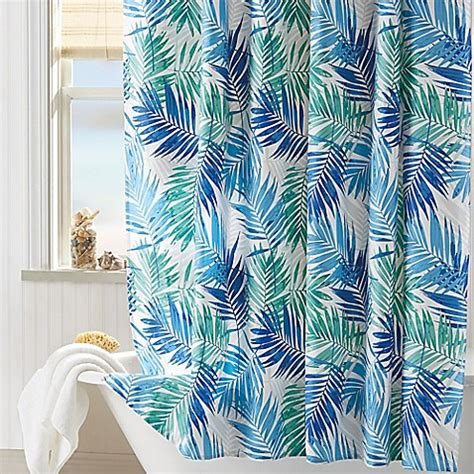 coastal living shower curtains coastal living 174 palm shower curtain in aqua bed bath