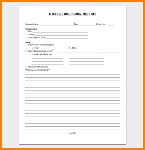 11 high school book report template applicationleter com