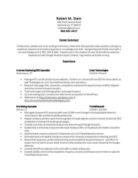 robert stein s resume internet marketing seo specialist