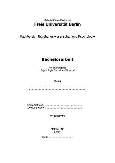 bachelorarbeit deckblatt tipps erstellung gestaltung vom deckblatt einer