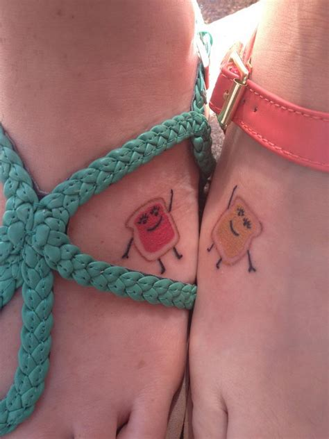 peanut butter jelly tattoo 40 creative best friend tattoos hative