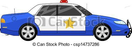 illustration  generic blue police car side view isolated