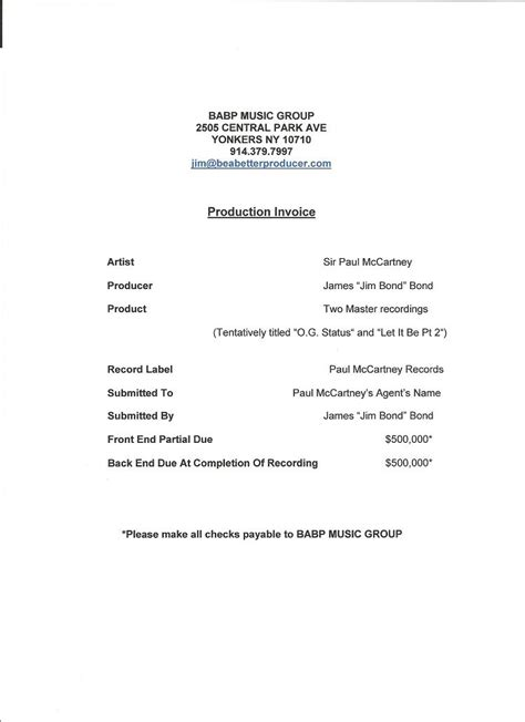 production invoice template production invoice