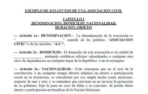 modelo de contrato de una sociedad civil crear empresas ejemplo de estatuto de una asociaci 243 n civil modelo de