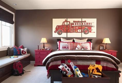 fire truck bedroom decor brown walls traditional boy s room benjamin moore