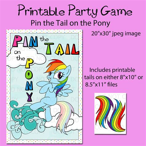 printable horse games printable diy pin the tail on the pony game party poster