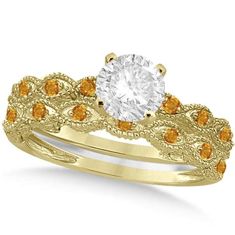 Yellow Citrine 1 95ct vintage citrine bridal set 14k yellow gold 0