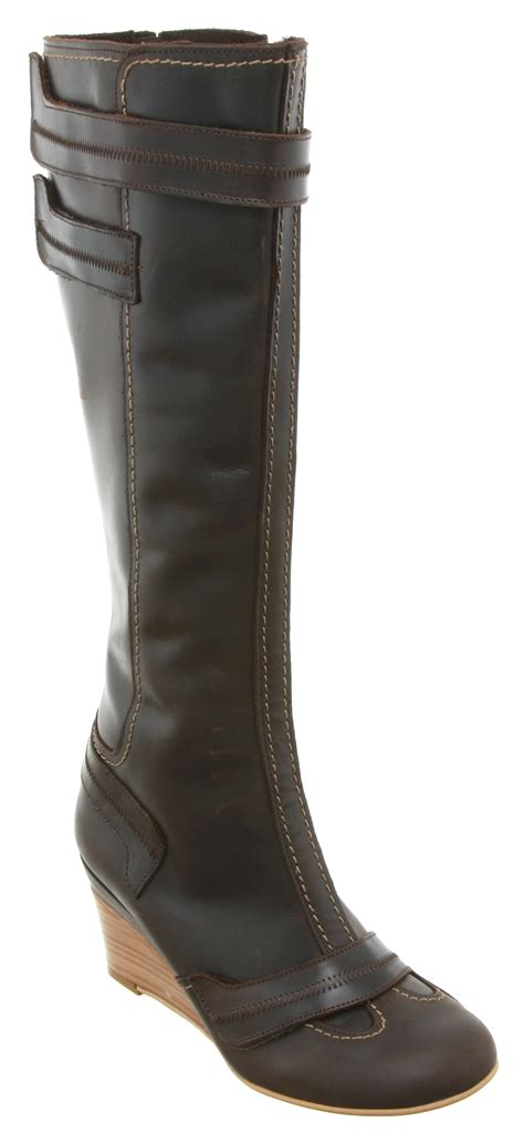 womens fly lake wedge knee boot brown rugged