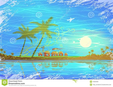 Airplane Bungalow House Plans tropical seashore scenery stock photo image 14022500