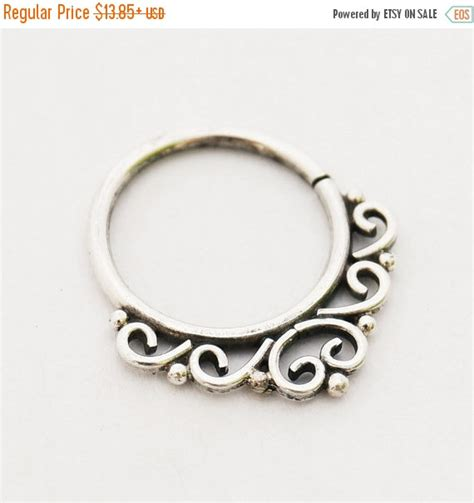indian style sterling silver septum ring by umanativedesign