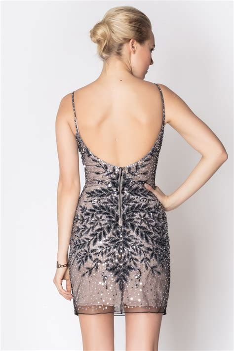issue grey beaded dress from soho by foravi shoptiques