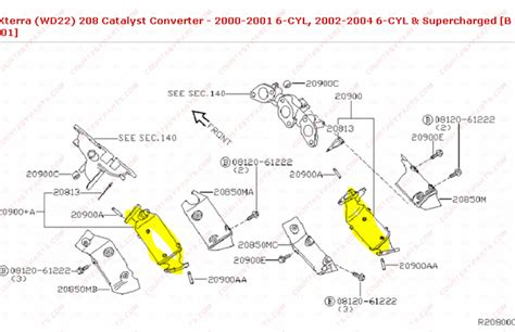 2004 Nissan Xterra Exhaust System Diagram 2004 Nissan Xterra Catalytic Converter Diagram