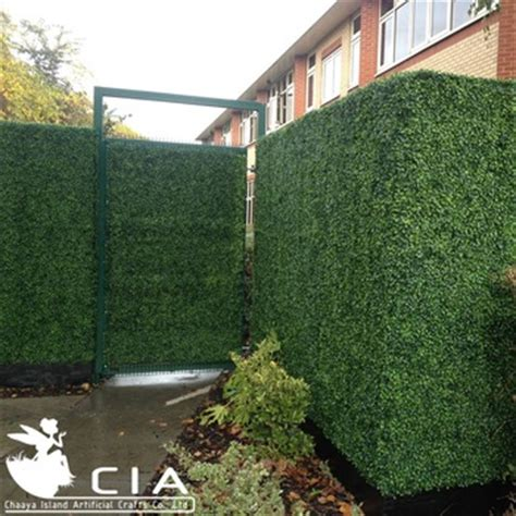 Hedge Planter Bag Large exterior uv artificial boxwood hedge fence panel in planter for garden privacy screens