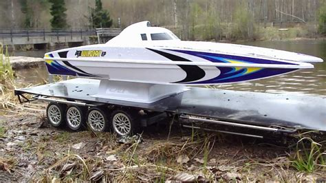 rc boat trailer for catamaran rc trail high lift hilux pulling bigrig trailer with