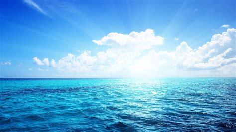wallpaper sea clouds horizon ray  open sea
