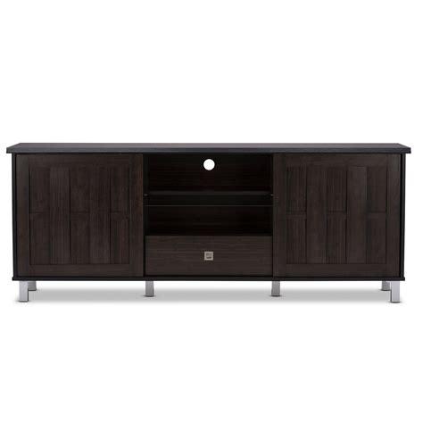 baxton studio unna 70 in tv cabinet baxton studio unna 70 inch dark brown wood tv cabinet with