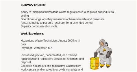 Hazardous Waste Technician Sle Resume hazardous materials handler resume 28 images blank acting resume to fill out professional
