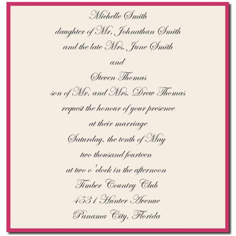 Wedding Invitation From Parents by Wedding Invitation Wording Wedding Invitation Wording
