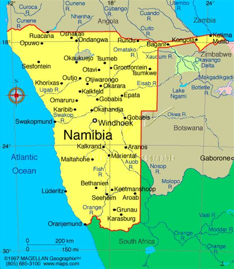 political map of namibia in namibia and cape town
