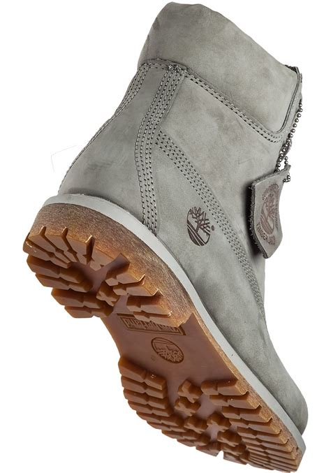 timberland premium 6 inch nubuck boots in gray lyst