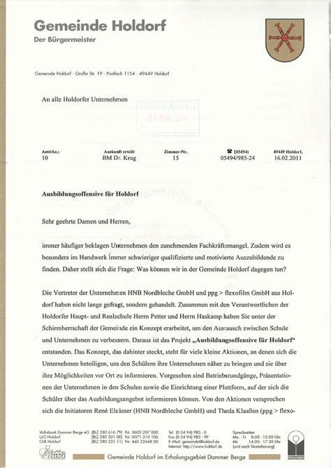 Bewerbung Ferienjob Wieder Holdorfer Ausbildungsoffensive Februar 2011